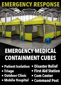 Emergency medical response containment cubes